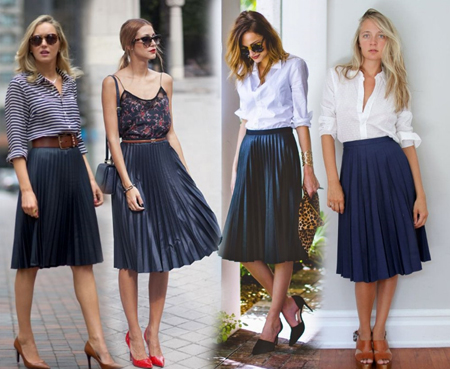 С чем носить плиссированную юбку миди?