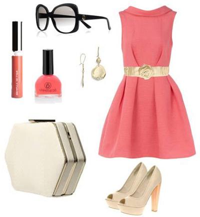 кремовые туфли к розовому платью