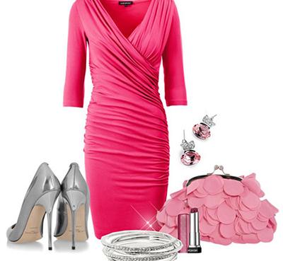 кремовые серебристые туфли к розовому платью