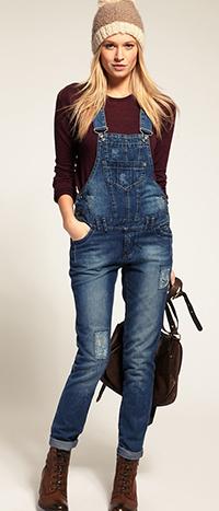 С чем носить комбинезон джинсовый зимой