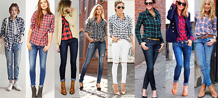 сочетание клетчатой или джинсовой рубашки на выпуск со рваными джинсами