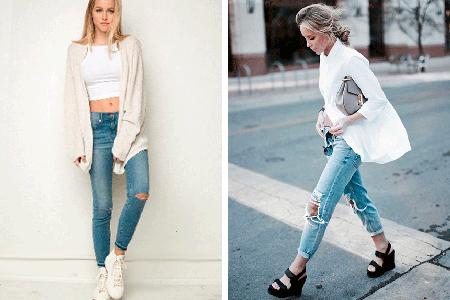 С чем носить рваные джинсы, фото