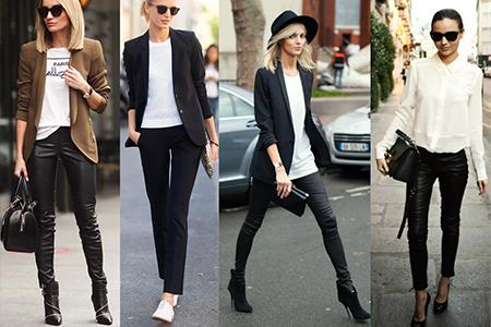 кожаные брюки в деловом стиле