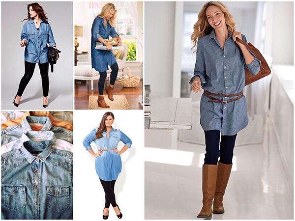 С чем носить джинсовую женскую рубашку