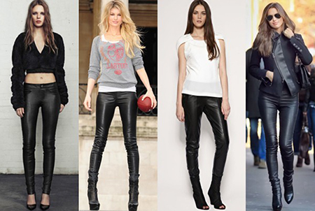 носить кожаные брюки с топами, блузами, рубашками, джемперами