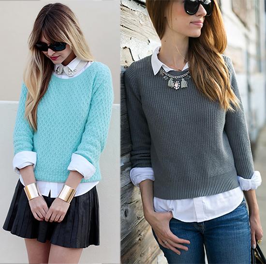 белую блузу можно скомбинировать с жилетом, джемпером или кофтой