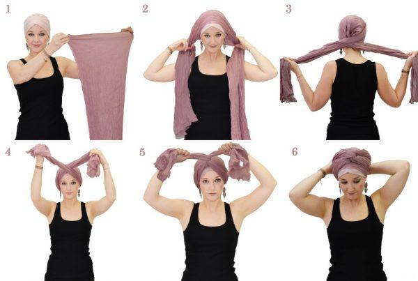 Завязывание шарфа или палантина в форме тюрбана