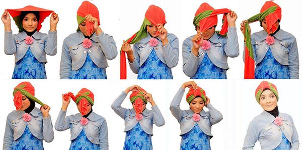 Завязать шарф на голове в виде чалмы