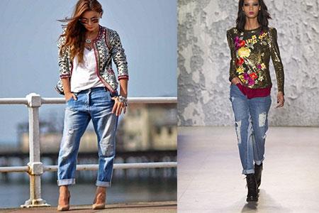 бриджи и короткие джинсы с отворотом