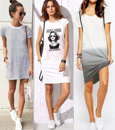 модное летнее платье-футболка
