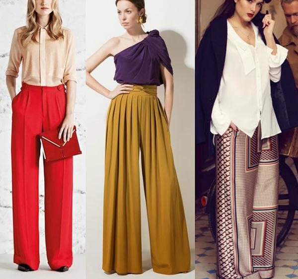 вариант широких длинных брюк