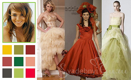 Коктейльные платья для осеннего цветотипа