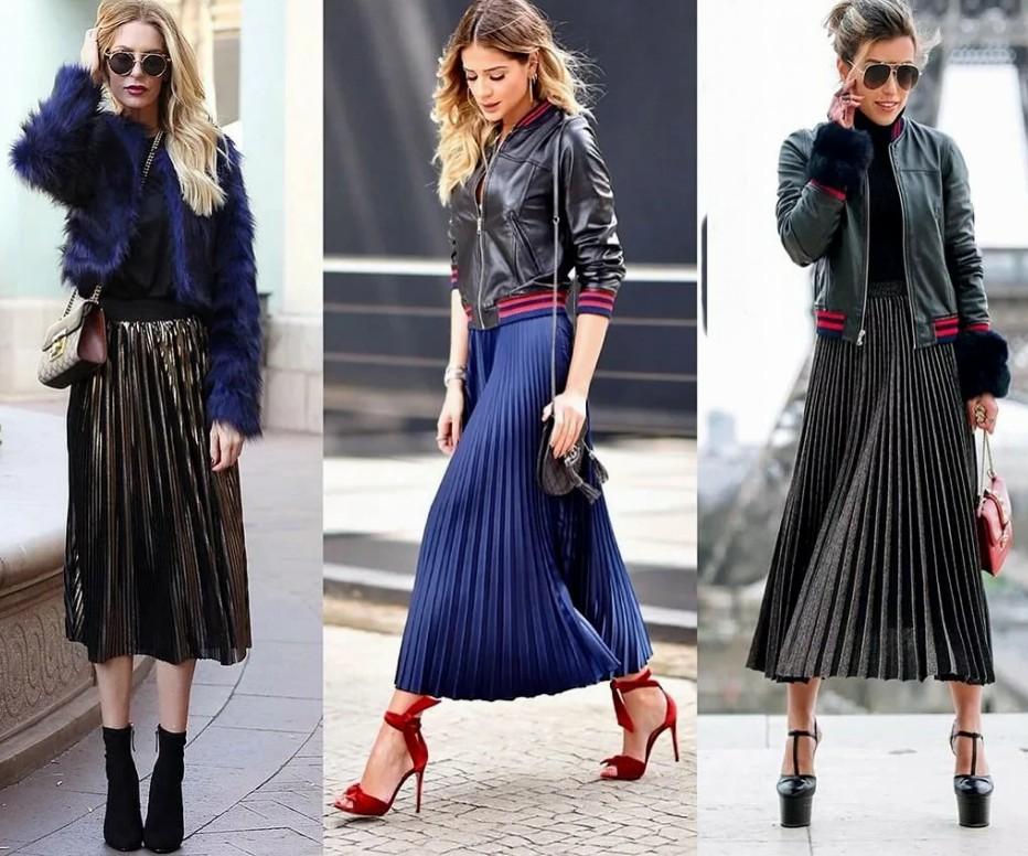 С чем носить юбку плиссе ниже колена, фото и видео