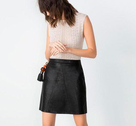 С чем носить кожаную юбку трапецию, фото