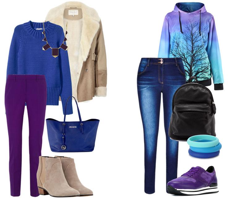 С чем сочетается синий цвет в одежде, фото примеры